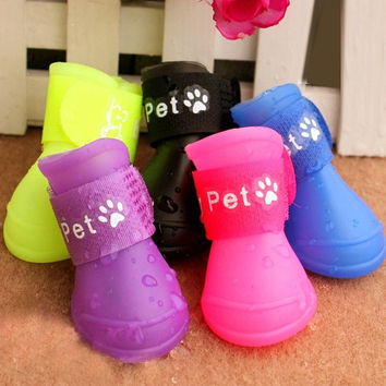 Fashion Candy Color Pet Dogs Rain Boots Waterproof Shoes Sandals Spring Summer = 1958784772
