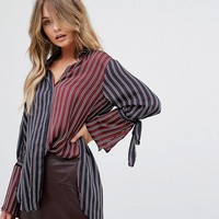 River Island Tie Sleeve Striped Shirt at asos.com