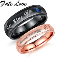Fate Love Engagement Promise Ring Bands Her King And His Queen Stainless Steel Wedding Rings For Women Men Anel Masculino FL606