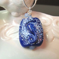 Necklace blue with white glass art lampwork bead and blue crystals