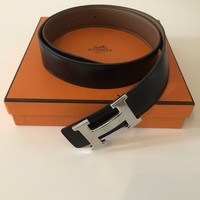 Authentic Hermes Constance H 32mm Buckle Size 85 Black Tan Leather Belt SHW