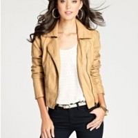 Guess Womens Faux Leather Long Sleeves Motorcycle Jacket Tan M