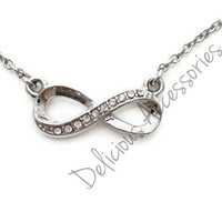 NEW INFINITY Symbol Silver-plated Necklace with pave white crystals Eternal LOVE