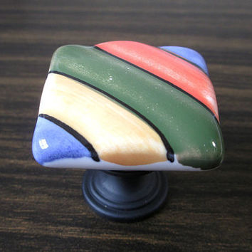 Dresser Knobs Colorful Stripes Orange Green Purple Yellow Square / Drawer Knobs Pulls Handles Ceramic / Cabinet Knobs Pull Handle Knob A63