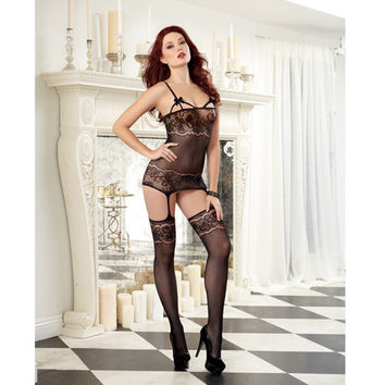 Sheer Garter Dress W-lace Design & Elastic Cup Strapping, Attched Garters & Thigh Highs Black O-s