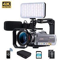 Ordro AZ50 4K Camcorder Video Camera with Microphone Wide Angle Lens 2 Batteries LED Light Handle 64GB SD Card Carrying case