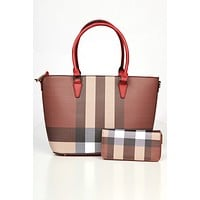 Pop Of Color Plaid Purse Set (Red)