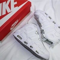 Air More Uptempo Triple White Basketball Sneaker