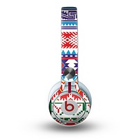 The Vector White-Blue-Red Aztec Pattern Skin for the Beats by Dre Mixr Headphones