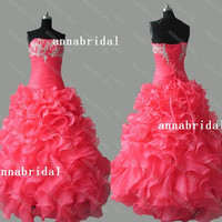 Coral Red Long Prom Dresses Strapless Thick-organza Ruffles Ball Gown Silver Appliques Corset Quinceanera Pageant 2015 Cheap Women Formal