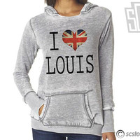 I Love Louis One Direction Hoodie x WOMENS Hooded Pullover x Sweatshirt x Jumper x Sweater 057