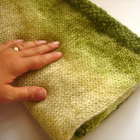 Baby blanket, soft mohair knitted blanket in green and cream, baby wrap, baby shower gift