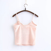 Vintage V neck Velvet Strappy Bustier Crop top tank bralette brandy Camis Woman Velour Camisetas Vest Short Tee 8 colors
