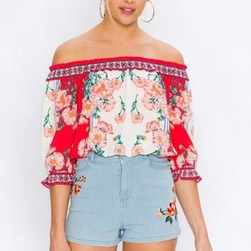 Jordan Off Shoulder Floral Boho Crop Top
