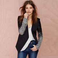 PU Leather Patchwork V-neck Silver Gradient Slim Blazer [6407766788]