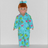 American Girl Doll Turquoise Flannel Pajamas with Fish & Turtles