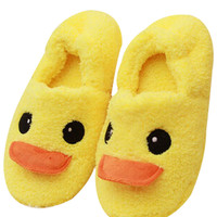Duck Pattern Thermal Fleece Winter Slippers