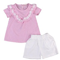 Kids Baby Girls Clothing Set Toddler Infant Baby Girl Pink Striped Shirt+ White Short Pants Outfit Set