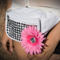 Rave Festival White Jeweled Fanny Pack With a Pink Flower