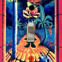 """Trippy blacklight light switch cover plate """"Skull Garden Illusions"""" by Vincent Monaco"""