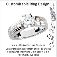 CZ Wedding Set, Style 232 featuring The Natalie engagement ring (Customizable Center Stone with Two-Tone Princess Channel Band)