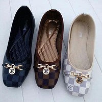 LV Louis Vuitton Classic Check Print Flat Shoes Fashion Ladies Casual Shoes