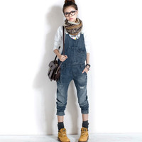 Women's Washed Casual Jumpsuit Romper Overall Jean Frayed Denim Pant
