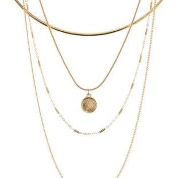 Gold Chain & Choker Layering Necklaces - 4 Pack by Charlotte Russe