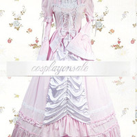 Light Pink And White Pleated Cotton Sweet Lolita Dress [T110597] - $72.00 : Cosplay, Cosplay Costumes, Lolita Dress, Sweet Lolita