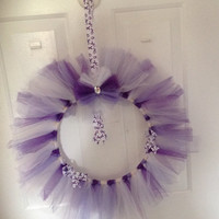 """Purple/Lavender Awareness Wreath Tulle 12"""" -Epilepsy-Alzheimers-Cancer-Rett Syndrome-Cystic Fibrosis-Infinitile Spasm"""