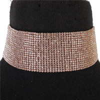"14"" rose gold crystal 18 row choker necklace 3.50"" wide bridal prom pageant"