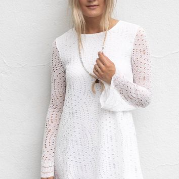 All My Cares White Lace Dress