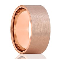 PERCY Pipe Cut Flat Rose Gold Tungsten Couple Matching Wedding Band - 4mm - 12mm