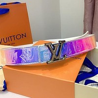 LV Louis Vuitton laser tie-dye embossed letter love belt letter buckle belt