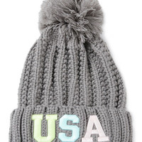 Gray Neon Letter Embroidery Ball Top Knit Beanie Hat