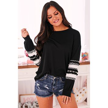 Already Gone Mixed Trim Long Sleeve Top (Black)