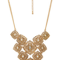 FOREVER 21 Layered Filigree Pendant Necklace Gold/Clear One