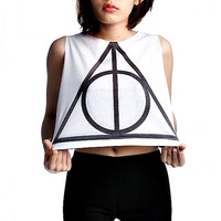 Deathly Hallows Magic Harry Potter Crop Top Tank Shirt Cropped Tops S M L