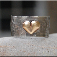 Sterling Silver Gold Heart Ring, Wide band sterling silver ring, Hand Soldered ring, Handmade Metalwork ring, Brass Heart Ring, Heart Ring