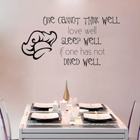 Kitchen Wall Decal Quote One cannot think well Chef Cook Vinyl Stickers Family Home Art Mural Cafe Interior Design Dining Room Decor M1025
