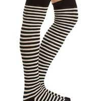 Black Combo Striped Over-the-Knee Socks by Charlotte Russe