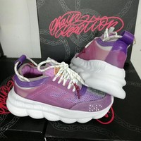DCCK Versace Fashion Purple Casual Women Men Sneakers Sport Shoes