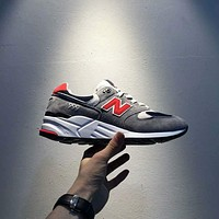 """""""New Balance"""" Fashion Casual All-match N Words Breathable Couple Sneakers Shoes Grey(orange red N) I-A0-HXYDXPF"""