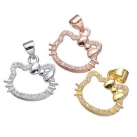 PROMOTION ON SALE 2017 New Summer Jewelry Micro Pave zirconia Hello Kitty Charm Carton Pendant for necklace bracelet Making