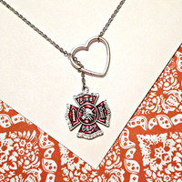 Firefighter, fireman red crystal rhinestone pendant and heart silver  lariat  necklace, handmade jewelry