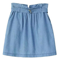 Blue High Waist Belted Waist Denim Skirt