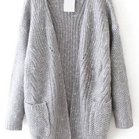 Grey Long Sleeve Pockets Knit Cardigan