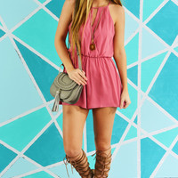 Here For The Party Romper: Blush