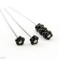 Black rondelle beads 100pc, Czech small glass flowers, 5mm Opaque jet gear
