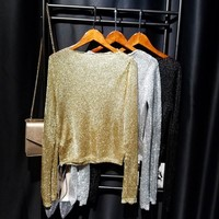 Cakucool New Gold Lurex Knit Tops Women t shirt Long Sleeve Slash Neck Tee Shirts Thin See-through Mesh Sexy Tees Tshirts Femme